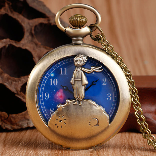 Exquisite The Little Prince Design Blue Planet Pocket Watch Necklace