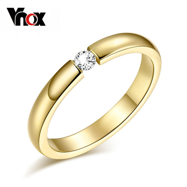Vnox 3mm Cute Women's Ring Gold Plated CZ Stone Wedding Ring Stainless
