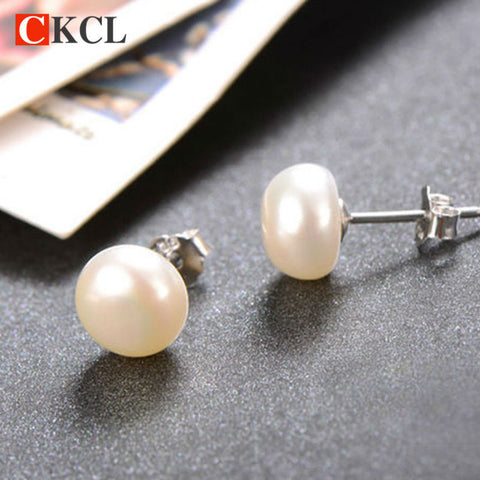 Double pearl earrings Natural real pearl stud earrings 7-8 mm  white black natural freshwater 925 sterling silver