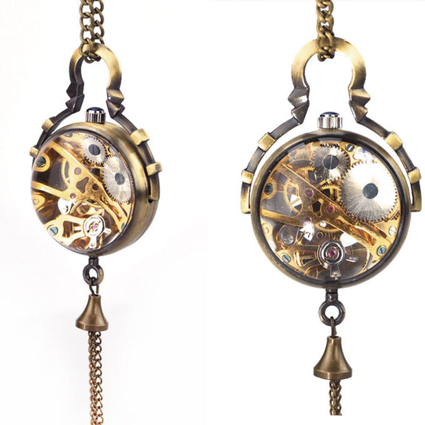 Steampunk Transparent Glass Ball Mechanical Pendant Pocket Watch Chain