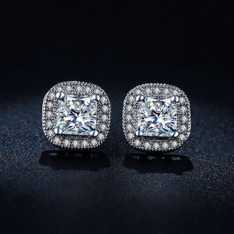 Classic Design White Gold Plated Princess-cut Big Square CZ Created Diamond Wedding Stud Earrings for Women E847
