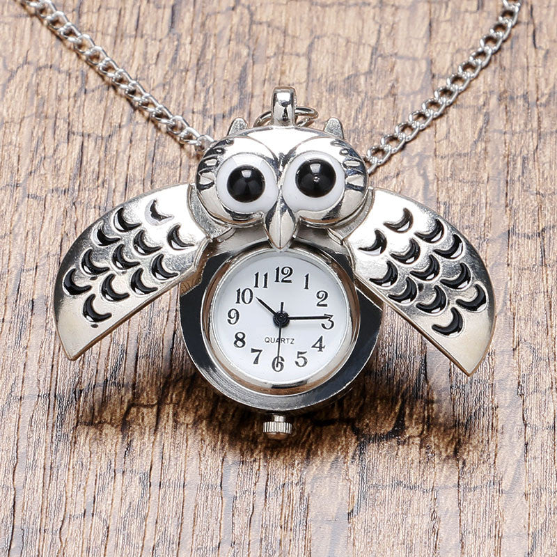 Cute Silver Vintage Night Owl Necklace Pendant Quartz Pocket Watch