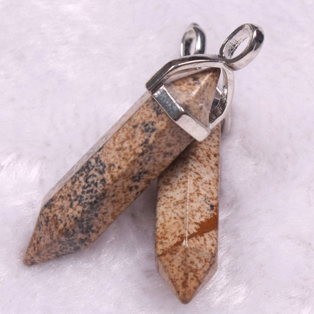 Crystal Point Clear Quartz Pendant Natural Opal Moonstone Turquoise