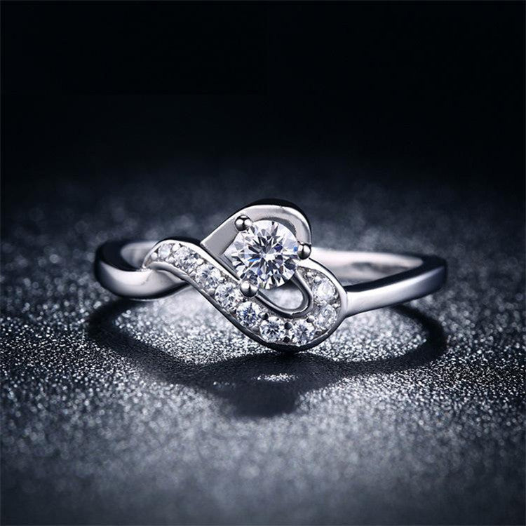 Classic Fashion Wedding Heart Silver Rings CZ Diamond Jewelry with 925