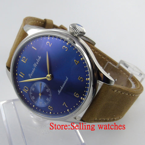 Parnis 44mm blue and big Mechanical hand winding 6497 Men's Watch