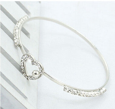 Crystal Bows Love Heart Gold Plated Bracelet Bangles