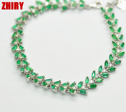ZHHIRY Natural Emerald Gem Stone Bracelet Green Solid Sterling Silver Women Prom Real Party Fine Jewelry