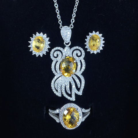 Natural Citrine Jewelry Sets Genuine 925 Sterling Silver Sets Real Gemstone Women Good Fortune Lucky Gold Fish