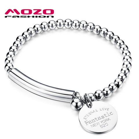 MOZO FASHION Women Charm Jewelry Strand Bracelets Rose Gold / Silver Round Pendant Stainless Steel Bead Female Bracelet MGS815