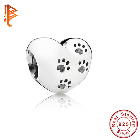 Original 925 Sterling Silver My Sweet Pet Paw Print Charm Fit Pandora Bracelet Necklace Heart Bead Accessories Jewelry Making