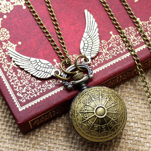 Fashion Woman Lady Wings Birds Antique Steampunk Pocket Watch with Chain Necklace
