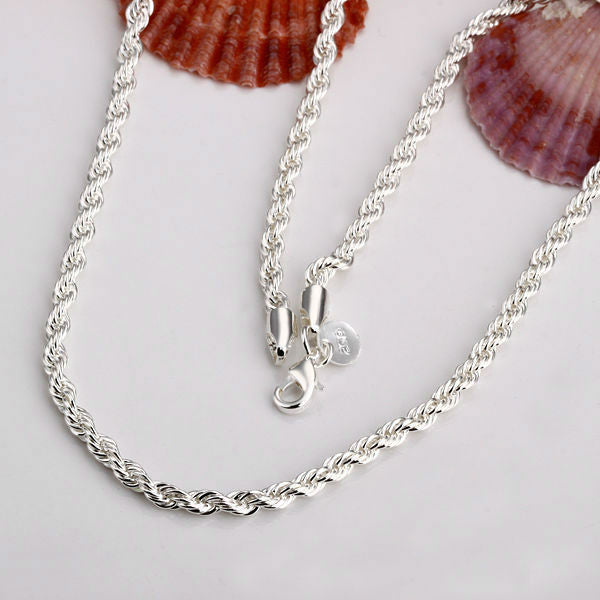 CN4 2mm Rope chain necklace,Wholesale lots Fashion jewelry 925 stamped