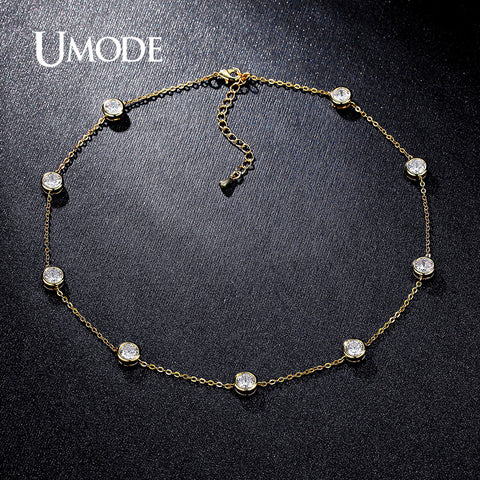UMODE 2016 4 Designs Cubic Zirconia Crystal Gold / White / Rose Gold Plated Choker Necklaces Jewellery for Women Collares UN0228