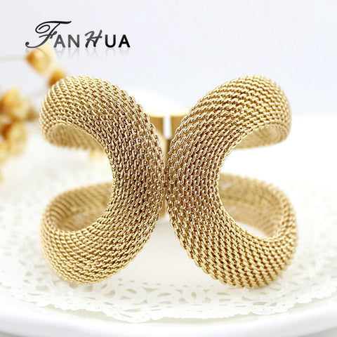 Cuff Bracelets Gold Silver Color Pulseiras Femininas Wide Big Bangles Hot Sale Bijoux For Women