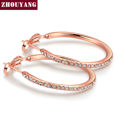 Classic Big Ruond Crystal  White / Rose Gold Plated hoop Earrings for women  Austrian Crystal Wholesale Top Quality  ZYE307
