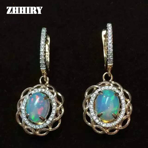 ZHHIRY Genuine Fire Opal Gem Earring Nataural Stone Solid 925 Sterling Silver Earrings Women Fine Jewelry Top Quality Birthstone