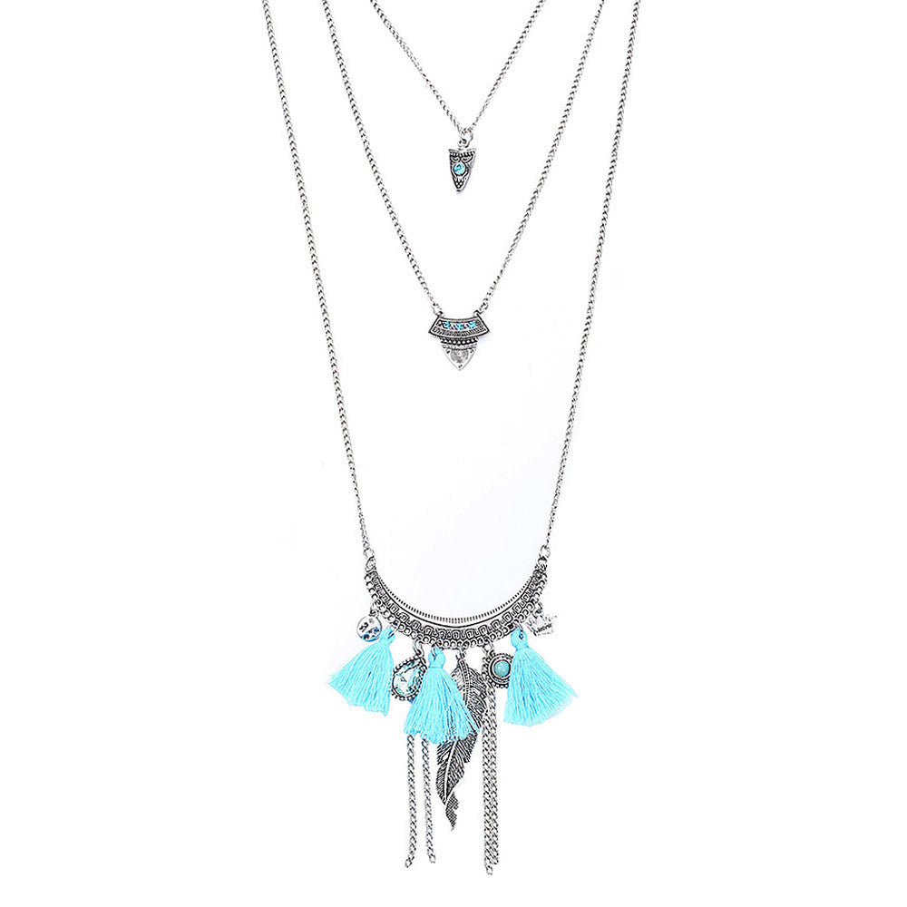Cheap Femme Collares Vintage Tassel Maxi 3 Layer Necklace Arrow