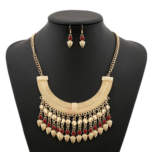 Li & Fang Brand Bohemian Tassel Power Necklace Long Colar Choker