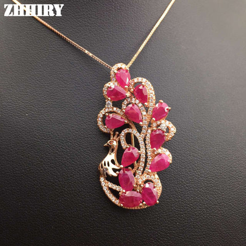Natural Ruby Necklace Genuine Gem Pendant Precious Stone Woman Fine Jewelry Solid 925 Sterling Silver Lady's Luxury