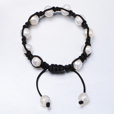 Daimi Super Handmade Bracelet 9-10mm Natural Pearl Red and Black