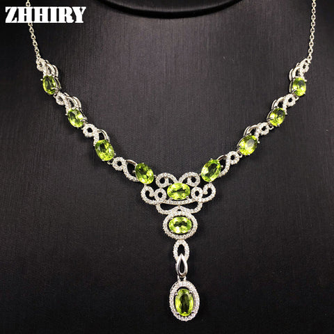 Lady's Necklace Natural Peridot Gemstone Woman  Jewelry Solid 925 Sterling Silver Pendant