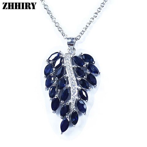 Natural Sapphire Gemstone Necklace Genuine Solid 925 Sterling Silver