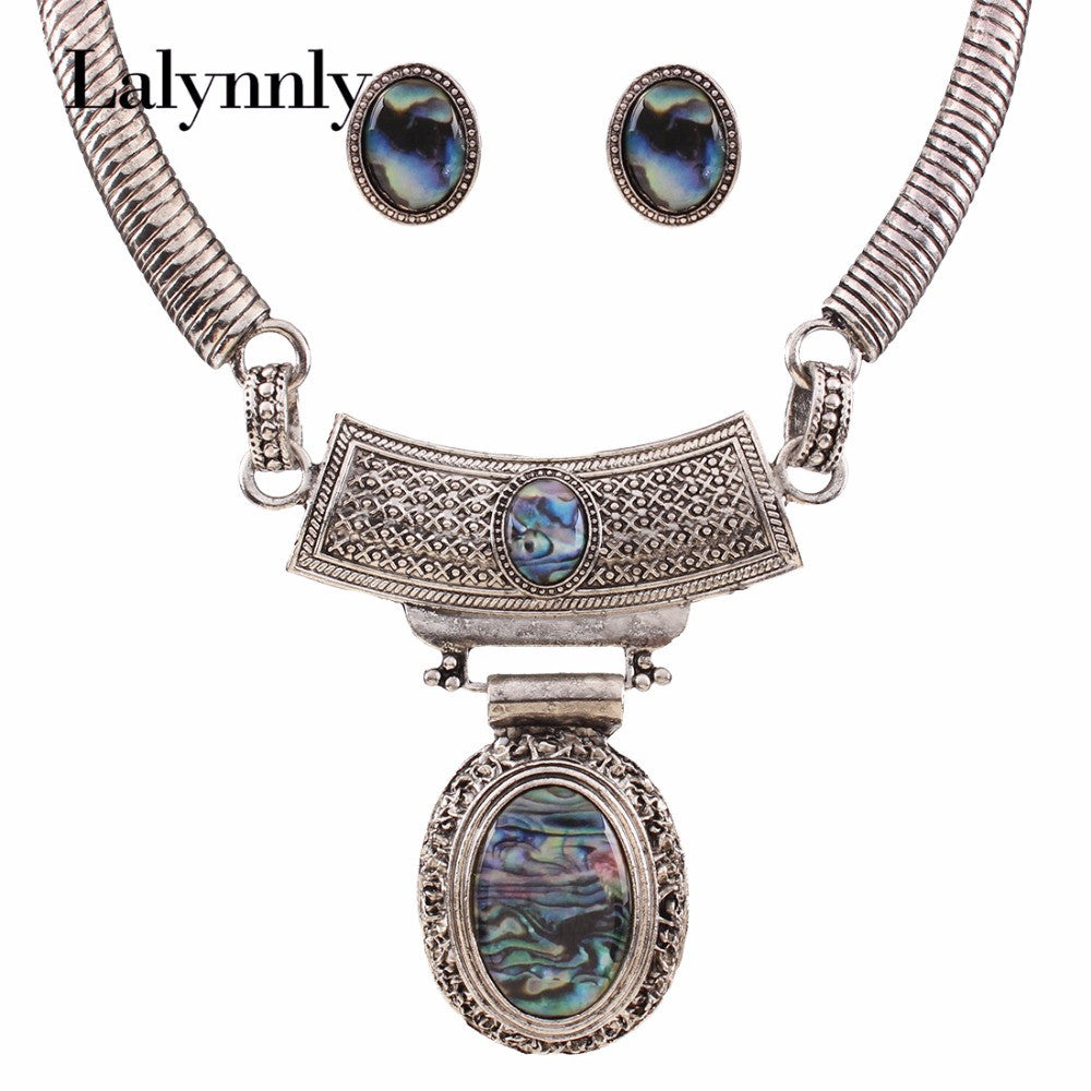 Charm Vintage Statement Jewelry Sets Silver Color Resin Oval Necklaces
