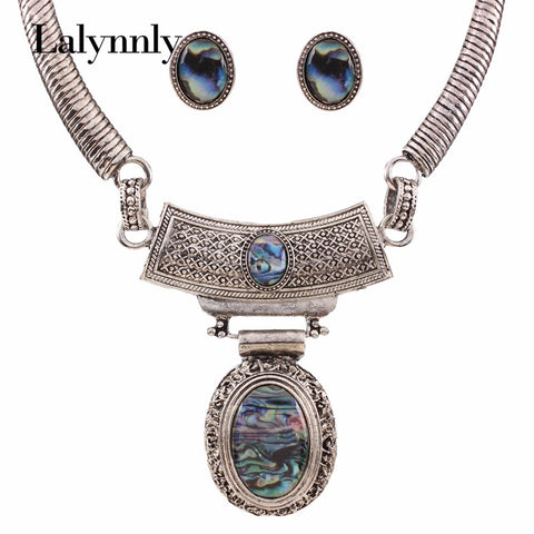 Charm Vintage Statement Jewelry Sets Silver Color Resin Oval Necklaces & Earrings Crystal Maxi Collares for Women N36561
