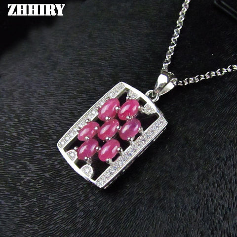 Lady's Jewelry Natural Ruby Gem Stone Close Pigeon Blood Red Pendant Necklace Real Solid Sterling Silver Woman Charm Ncklaces