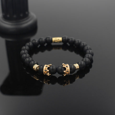 New Fashion Matte Onyx Stone Bead Bracelet For Men Popular Boys Imperial Crown Braiding Brand Macrame Charm Bracelet Gift RB2794