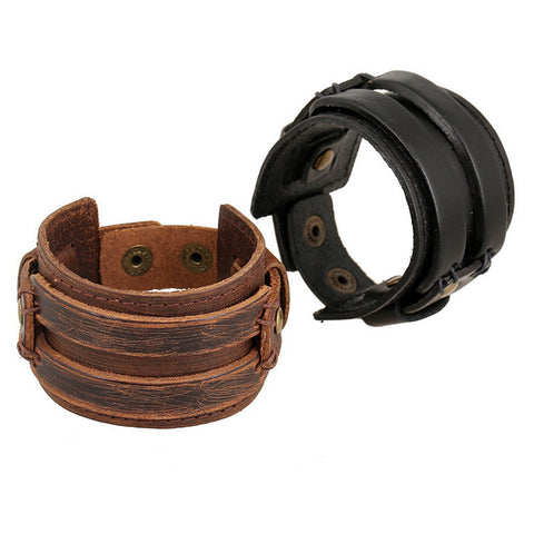 Kittenup New Fashion Punk Rock Vintage Wide Leather Cool Thick Black Brown Wristband Cuff Bracelets Jewelry For Men