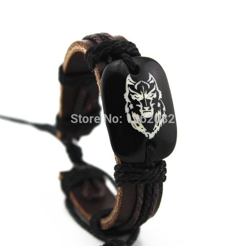 Classic Men's Leather Bracelet Resin Carved Wolf Leather Bracelets Friendship ID Bracelets Bangles Gift MB22