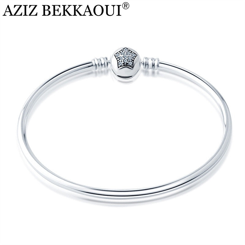 CZ Clear Crystal Star Bangle & Bracelet Fit European DIY Style Beads