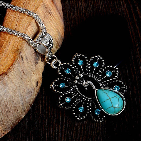 Exquisite Antique Turquoise Peacock Pendant Necklace Fashion Charm Crystal Jewelry For Women Sweater Necklace Accessories