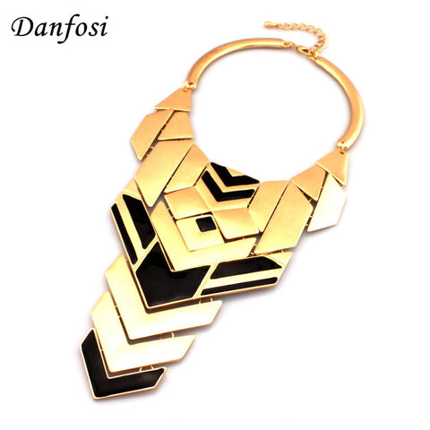 Danfosi Gothic Style Torque Choker Fashion Semigloss Metal Piece Combination Statement Vintage Costume Maxi Jewelry N760