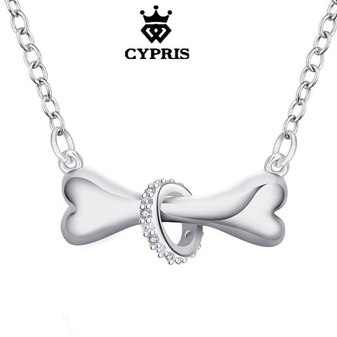 CYPRIS N624 Hot Paw silver necklace dog bone Tag rolo Bell 18inch Pendant necklace Doggie cute Puppy Pet wholesale jewelry 925
