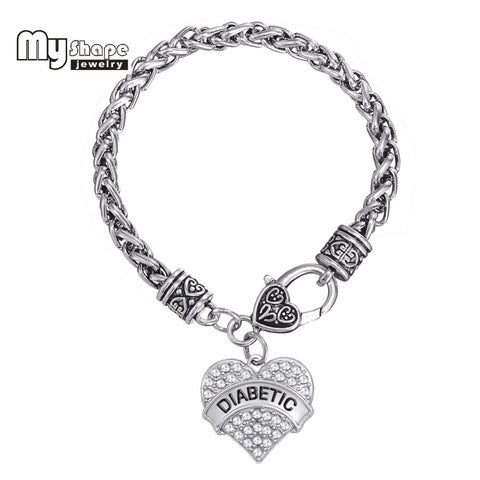 DIABETIC Bracelets Awareness Medical Alert Charm Bracelet White Rhinestone Heart for women