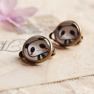 Cute Panda Clip Earrings No Pierced Ears Kids Handmade Glass Jewelry