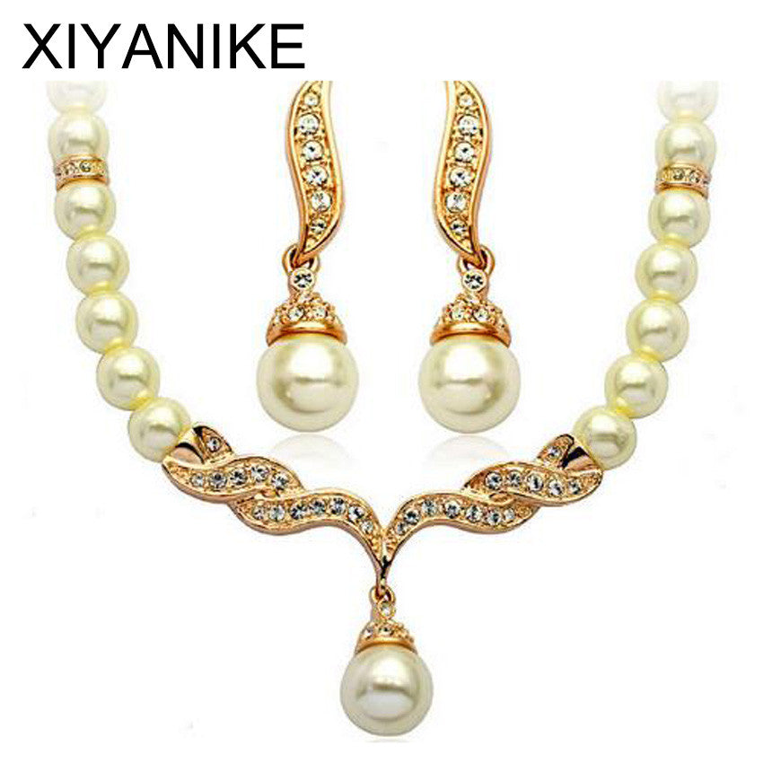 Charming Bride Simulated Pearl Jewelry Set Crystal Pendant Necklaces
