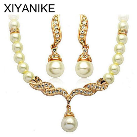 Charming Bride Simulated Pearl Jewelry Set Crystal Pendant Necklaces Earring Sets Fashion Jewelry Accessory Maxi Necklace XY-N2