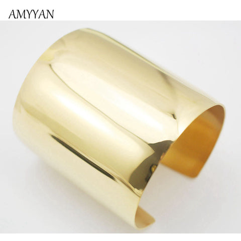 Gold Plated Big Heavy Cuff Bracelets Bangles Titanium Stainless Steel Luxury Bracelet Stylish Shiny Women Bangles Latest Design