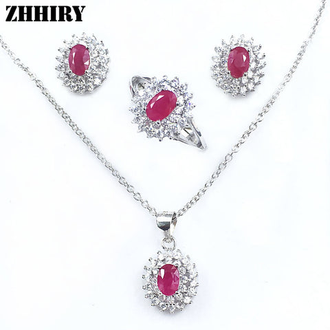 Natural Ruby Gemstone Jewelry Set Genuine solid 925 Sterling Silver Sets Women Ring Earrings Pendant Necklace