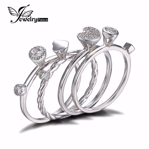 Fashion Heart Love Anniversary Engagement Wedding Band 4 Ring Sets Genuine 925 Sterling Silver Jewelry Gift for Mother's Day
