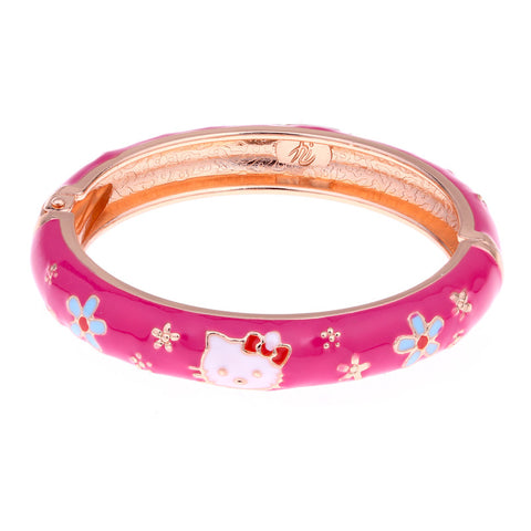 Hello Kitty cuff bracelets love jewelry flower enamel gold plated kids bracelet girls baby bangle pulseras charm bijoux