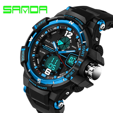 SANDA Luxury Brand Waterprrof Men's Watches Rubber Quartz Analog Digital LED Army Military Sport Watch Male Relogios Masculinos