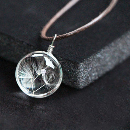 Collier Limited Necklaces & Pendants 2016 Fashion Glass Dandelion Pendant Necklace Chain Clover Four Leaf For Wish Jewelry