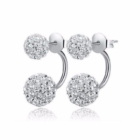 High Quality Double Side Earrings,Fashion Crystal Disco Ball Shamballa Stud Earrings For Fashion Women Party Jewelry Wholesale