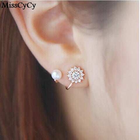 MissCyCy 2016 New Fashion Simulated Pearl Jewelry CZ Diamond Snowflake Sweet Gold/Silver Plated Stud Earrings For Women