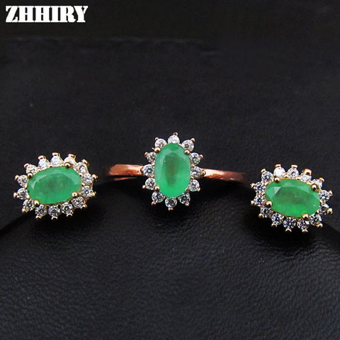 Natural Emerald Jewelry Set Solid 925 Sterling Silver Woman Stone Ring Earrings Precious Gem Birthstone Luxury Fine Jewelry