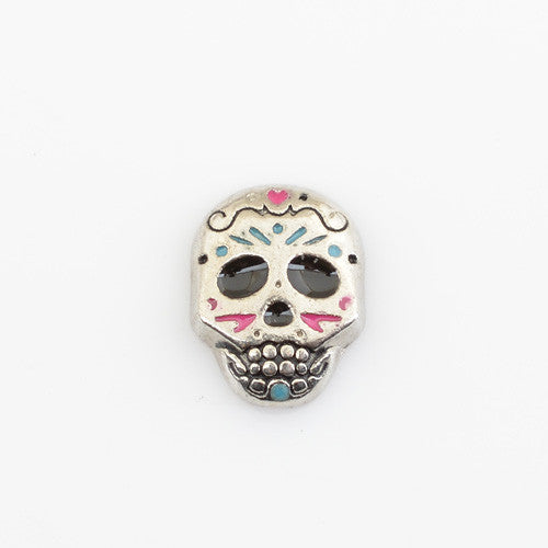 charms SUGAR SKULL, Floating locket charms,Fit floating charm lockets,